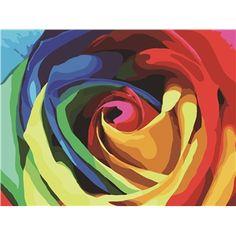 (EU Lager)Malen nach Zahlen Bunte Rose DIY Handgemaltes Digital Ölgemälde 30*40 cm