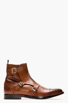 ALEXANDER MCQUEEN Brown leather brogued monk-strap boots - like the color, not sure about the buckles