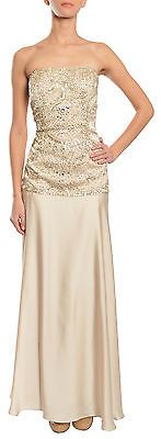 SUE WONG Strapless Champagne Beaded Drop Waist Satin Evening Gown