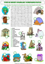 home house types wordsearch puzzle vocabulary worksheet icon