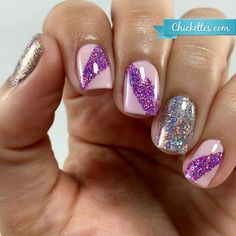 Nail art using Magpie glitter and gel polish - Chickettes.com