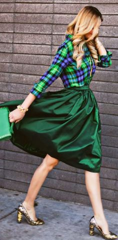 cute high waisted green skirt http://rstyle.me/n/fm9sfr9te