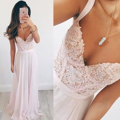 Pink Long Prom Dresses Cheap Vestido formatura Fast Shipping Sexy African Lace Party Graduation Dress Straps Chiffon L404