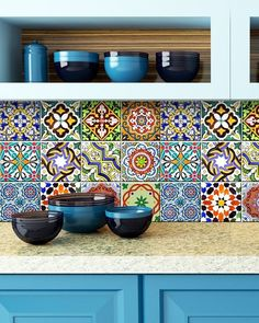 This Traditional Mexican Tile Decals bathroom stickers mixed Tiles for backsplash Kitchen decals DIY home decor is just one of the custom, handmade pieces you'll find in our decorative tiles shops. Bathroom Stickers, Bathroom Mural, Wall Stickers, Kitchen Decals, Kitchen Backsplash, Blue Backsplash, Tile Countertops, Tile Decals, Vinyl Tiles