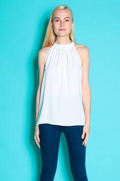 Cut-In Flare Top (White) SGD$ 28.00