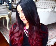 Black to red ombré hair