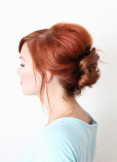 An easy French twist, great for second day hair.