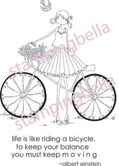 Uptown Girl Flora and Her Bicycle Stamping Bella Unmounted Rubber Stamp EB120