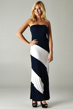 Navy Strapless Contrast Colorblock Maxi $52.00
