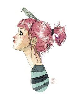 Esther Gili ilustración acuarela pájaros cabeza