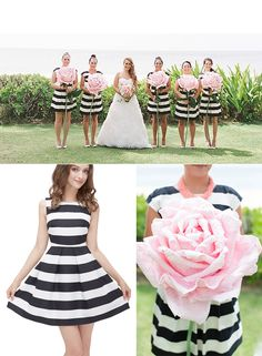 Steal This Bridesmaid Look: Black & White bridesmaid dresses paired with giant pink paper flowers.
