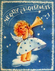 Vintage Christmas Card Little Angel Trumpet Music