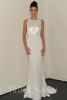 Brides.com: Spring 2014 Wedding Dress Trend: Sleek and Modern. Sleeveless sheath wedding dress with high neckline, Rafael Cennamo  See more Rafael Cennamo wedding dresses.