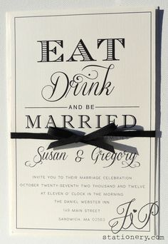 Timeless Wedding Invitation   Eat Drink And Be Married On Etsy, $4.50