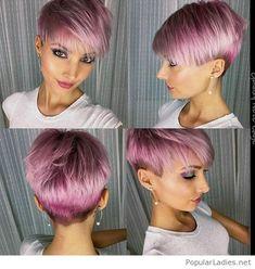 Short pink hair with a nice makeup