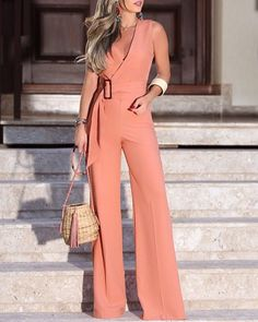 Elegant V-Neck Solid Color Wide Leg Jumpsuits Women 2019 Summer Sleeveless Office Rompers Office Lady Belted Wear Playsuits Trend Fashion, Fashion Outfits, Womens Fashion, Parisian Fashion, Bohemian Fashion, Cheap Fashion, Fashion Fashion, Retro Fashion, Jumpsuit Outfit