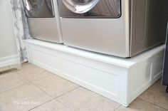 I love this idea and its cheaper than buying the ones from the store.  Build washer and dryer platform - The Idea Room