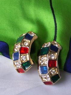 Vintage Color Block Gold Plated Enamel Rhinestone Clip On Half Hoop Earrings Checkerboard 80s Runway Designer Like Statement Jewelry by dazzledbyvintage on Etsy