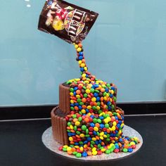 Anti gravity chocolate m&m cake