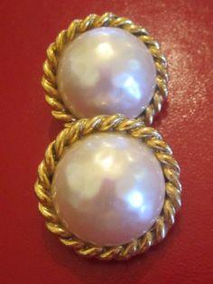 Vintage Retro Carolee Earrings Large Textured Pearls Gold Rope Trim