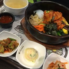 Jeyook Bibimbab (제육비빔밥) : rice mixed with vegetables and spicy stir - fired pork @the Bibimbab