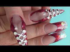 """BURLESQUE 'BOOBIE' ACRYLIC NAILS -YouTube   These are cute and creative, I think it would look better with a nude colored acrylic for the """"skin"""" part. Nonetheless, pretty freaking cool."""