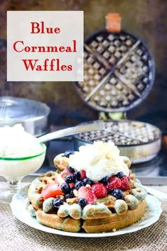 Crispy and fluffy, these blue cornmeal waffles are hearty and delicious with a wholesome, nutty flavor that's perfect with everything from maple syrup to fresh fruit. Blue Cornmeal, Cornmeal Waffles, Pancakes, Spring Desserts, Summer Dessert Recipes, Brunch Recipes, Cake Filling Recipes, Cupcake Flavors, Bread Recipes