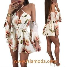 Sexy Flower Print Halter Rompers with Sleeves Cute Comfy Outfits, Cute Summer Outfits, Simple Outfits, Sexy Outfits, Pretty Outfits, Pretty Dresses, Dress Outfits, Fashion Dresses, Teenage Girl Outfits