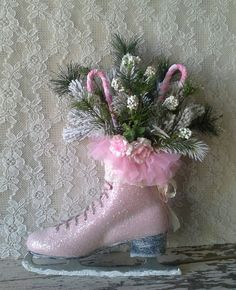 Pink Ice Skate Winter skate Holiday ice Skate by SavannahsCottage