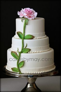 Single Rose Cake The single large rose is the focal point of the cake and the inspiration for this cake design. The fondant ribbon has. Wedding Cake Roses, Amazing Wedding Cakes, Amazing Cakes, Rose Wedding, Gorgeous Cakes, Pretty Cakes, Cupcakes, Cupcake Cakes, Chocolates