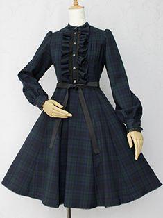 Victorian Maiden. British Check Jasmine OP - Navy x Green.