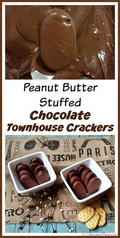 I love this yummy treat! Don't you just love buttery crackers! You can use them to easily make a variety of snacks, like these delicious peanut butter stuffed chocolate Townhouse crackers! | Easy desserts | Chocolate desserts