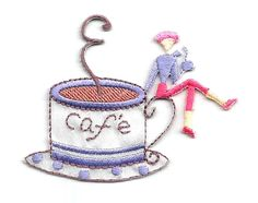 """Cafe - Coffee - Coffee Break - Coffee Shop - Iron On Applique Patch - 2 1/2""""W #Unbranded"""
