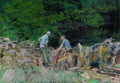 "Saatchi Art Artist Grażyna Smalej; Painting, ""Woodcutters in Dukla"" #art"