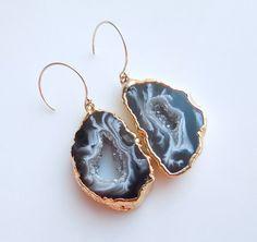 Geode Earrings Raw Rock Druzy Earrings by 443Jewelry on Etsy, $85.00