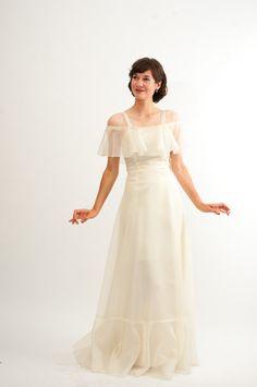 Vintage 1970s Wedding Dress 70s Gown Sheer Ivory Deadstock