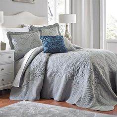 Brylanehome Amelia Bedspread (Grey,King) BrylaneHome