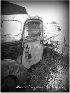 Black and White Old Farm Truck
