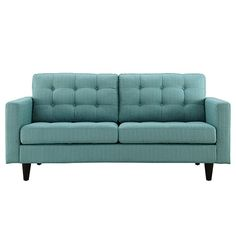 Bring some flair to the mid-century modern decor in your living room, family room or den with this contemporary loveseat, featuring deeply tufted buttons on the back and cushions. With a solid pattern available in a range of vibrant colors set off by the black rubberwood finish of the frame, this contemporary loveseat offers comfort with a gracious elegance.