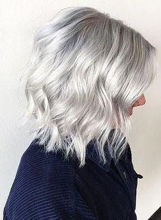 18 Short Hairstyles for Grey Hair Silver Blonde Hair Color Grey Hair Wig, Silver Blonde Hair, Lace Hair, Blonde Wig, Dark Blonde, Hair 2018, Human Hair Extensions, Hair Highlights, Silver Highlights
