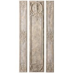 Uttermost Set of 3 Argentario Aged Ivory Panels