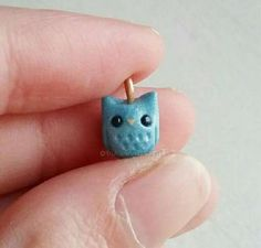 Items similar to Polymer clay owl charm, animal kawaii pendant jewelry keychain, blue bead necklace and bracelet making. on Etsy Crea Fimo, Polymer Clay Kawaii, Polymer Clay Animals, Fimo Clay, Polymer Clay Charms, Polymer Clay Projects, Polymer Clay Creations, Clay Crafts, Polymer Clay Jewelry