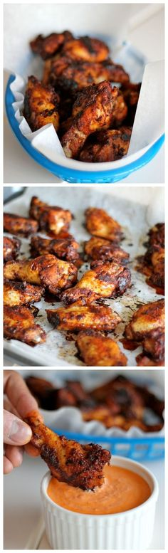 Baked Brown Sugar Chicken Wings with Roasted Red Pepper Cream Sauce – Amazingly crisp, baked wings served with a creamy dipping sauce! Baked Brown Sugar Chicken Wings with Roasted Red… Think Food, I Love Food, Good Food, Yummy Food, Fingers Food, Brown Sugar Chicken, Great Recipes, Favorite Recipes, Football Food