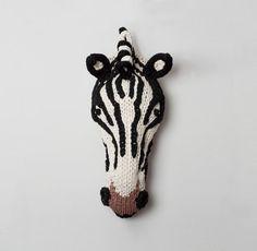 Hand Knitted Zebra Head by buryknitwear on Etsy, £190.00