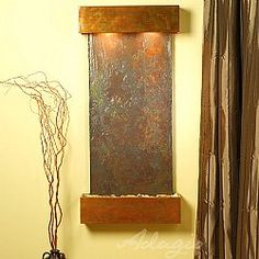 Cascade Springs Wall Fountain with Rajah Natural Slate in Rustic Copper Diy Wall Art, Wall Art Decor, Indoor Wall Fountains, Water Fountains, Water Walls, Southwest Decor, Copper Wall, Copper Color, Beautiful Wall