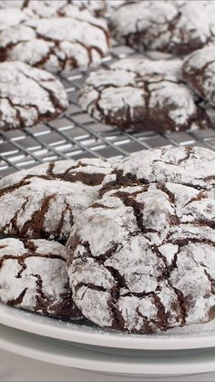 Chocolate Crinkle Cookies - - Chocolate Crinkle Cookies - Fudgy on the inside with a crisp outside edge! So rich and decadent and adored by any and all chocolate lovers. Doesn't get better than this crinkle cookie recipe! Keto Desserts, Delicious Desserts, Dessert Recipes, Yummy Food, Plated Desserts, Homemade Chocolate, Chocolate Recipes, Chocolate Lovers, Chocolate Art