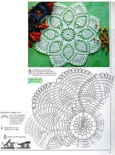 Ponteando: Doily de croche - ponto abacaxi - com gráfico