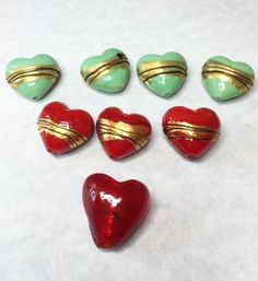 HAND PAINTED CERAMIC Heart Charms by CoseBelleByMaria on Etsy