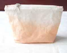 Orange Ombre dip dyed makeup bag cosmetic case, knitting project bag, dye ombre