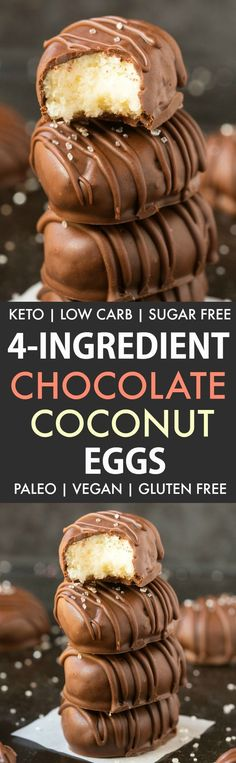 No Bake Chocolate Coconut Eggs (Paleo Vegan Keto Sugar Free Gluten Free)-An easy recipe for chocolate coconut no bake Easter eggs using just 4 ingredients! Easy delicious low carb candy which take less than 5 minutes to whip up- The perf Sugar Free Desserts, Sugar Free Recipes, Mini Desserts, Healthy Dessert Recipes, Vegan Desserts, Vegan Sweets, Keto Recipes, Cream Cheeses, Sugar Free Easter Eggs